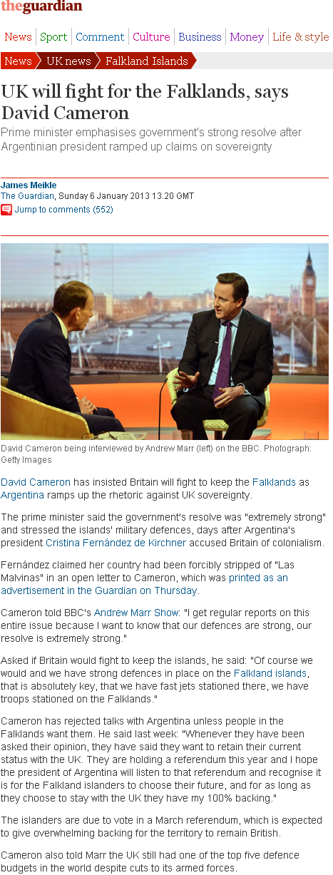 UK will fight for the Falklands  says David Cameron   UK news   The Guardian