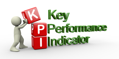 3d render of man placing kpi ( key performance indicator ) cubes.